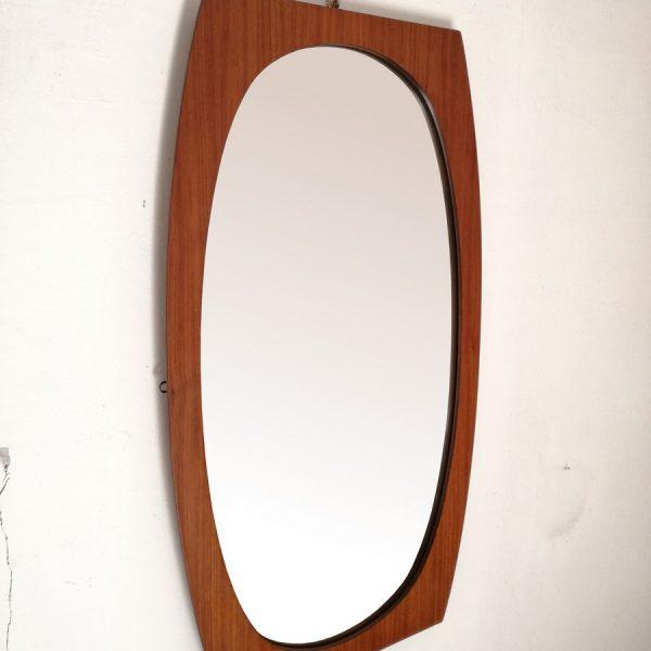 Specchiera anni 60 ovale teak (2)